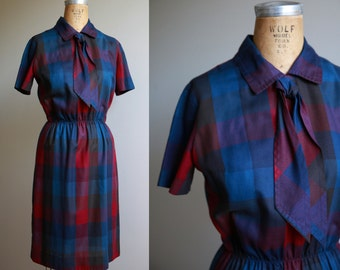 1960s Plaid School Girl Dress with Necktie Collar - Small Medium