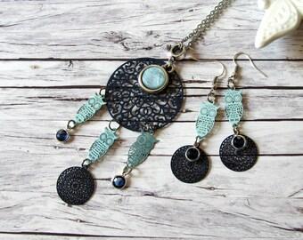 Blue turquoise chain silver/haze Bohemian-style