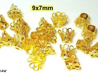 20 filigree bead caps gold 9x7mm, hat, Crown (53.9.4)