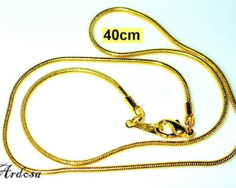 1 snake necklace with carabiner 40 cm gold (K218. 40)