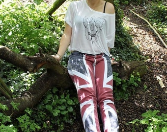 Womens Union Jack Flag Slim Low rise, Red White, Blue Skinny Jeans