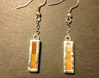 Orange and green stained glass earrings