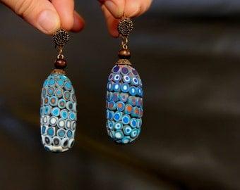 Blue Boho Earrings Long Dangle Earrings Hippie earrings Tribal earrings Ethnic earrings Boho jewelry Navy Blue Earrings bohemian earrings