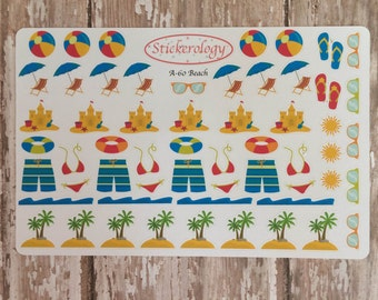 Beach Stickers, Wave Border Stickers, Swimming Stickers, Sand Castle Stickers, Vacation Stickers, Flip Flop Stickers, A-60.