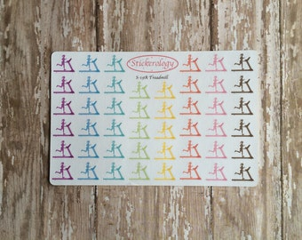 Workout Stickers, Erin Condren Planner Treadmill Stickers, Girl Running Stickers, Rainbow Colors, Fitness Stickers, S-19A.