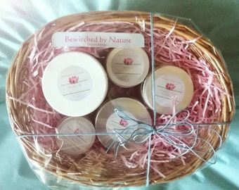Holistic Bath & Body Pamper Pack (Pain Potion included) All Organic Body Butter Body Scrub Polish Detox Bath Salts Mother's Day Gift Treat