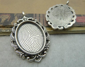 5 Vintage Oval Pendant Trays Antique Silver Tone Bezel Setting Fitting 18x25mm Cabochon (YT2455)