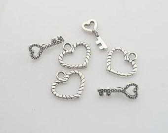 16sets Tibetan Silver heart & key toggle clasps X0140
