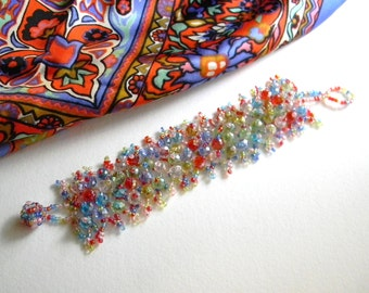 Multi-Colored Hand Crafted Beaded Bracelet Vintage