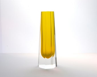 East German Art Glass Octagonal Yellow Sommerso Vase by VEB Kunstglas Wasungen GDR