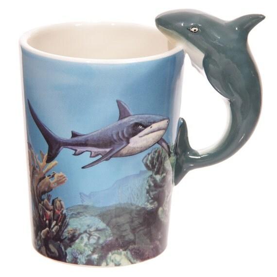 Sealife Design Mug Shark Shaped Handle Presen Gift By