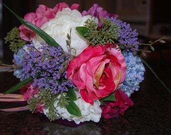 Bridal Bouquet, Quality silk, 12 in Diameter, Mauve, Blue, White, Lavender,Burgundy