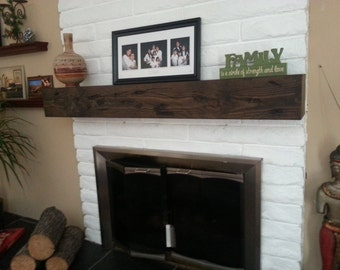 "Fireplace Rustic Mantel Beam 7"" height"