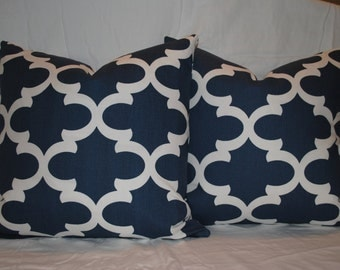 Couch Pillows, Navy Blue Decorative Throw Pillows, Accent Pillows, Home Decor, Zippered Pillows, Bedroom Decor