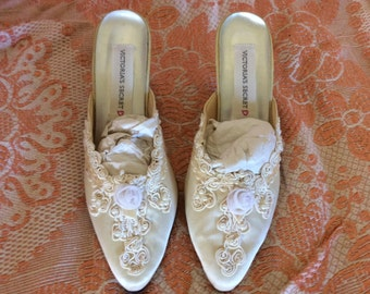 Vintage slipper/shoes, satin, ribbons, sequins, pearls and satin braiding, size M