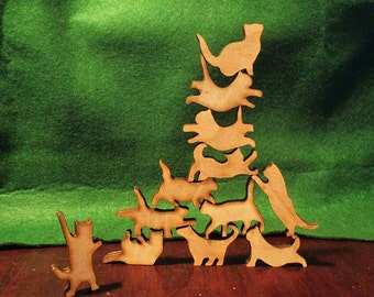 Stack the Cats! Cat lover gift. Box of twelve wooden cats
