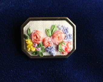 Silk Ribbon Embroidered Brooch