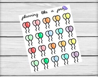 Birthday Balloon Stickers // 20 Planner Stickers