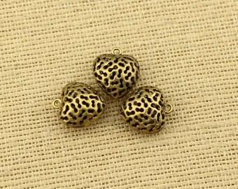 Hollow copper heart pendant, necklace pendant, 10 pcs for a listing, wholesale, A 030