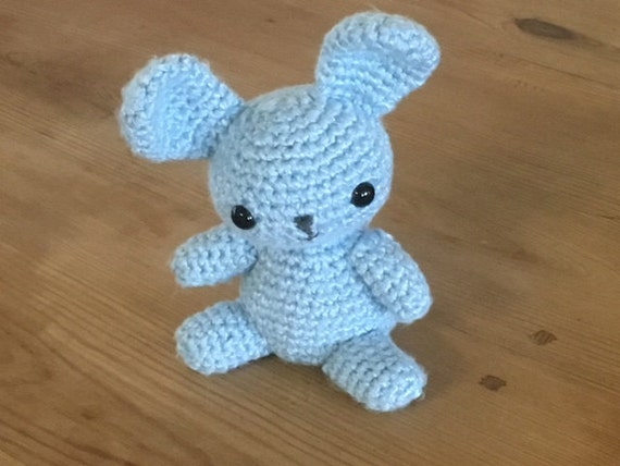 Super cute, super soft crochet blue bunny/rabbit Stuffed animal/amigurumi. Kawaii Bamboo yarn so soft.