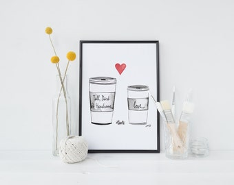 Coffee Love, A3 Giclée Print of Original watercolour and ink painting