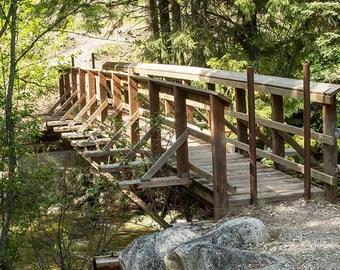 Foot Bridge to Montana Wilderness,Photo,Digital Image Download,Art Photograph,Landscape Photo,Wall Gallery, 8 x 10 in( 20 x 25 cm) x 300 dpi