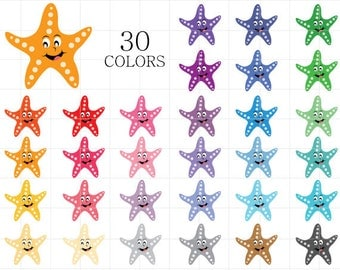 Starfish Clipart, Star Fish Clip Art, Fish Clipart, Colorful Starfish, Rainbow Starfish, Digital Starfish, Sealife Clipart, Star Clipart