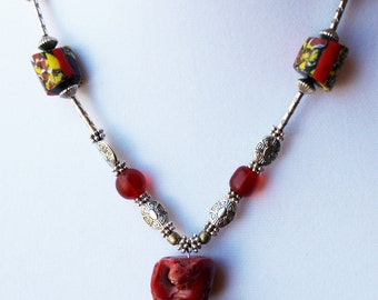Old African Trade Bead and Coral Necklace