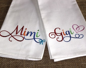 GRANDMOTHER SERIES  - Gigi, Mimi, Nana, Granny Grammy - Kitchen Towel, Tea or Bar Towel, Hand or Guest Towel