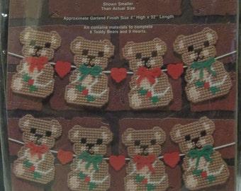 Teddy bear Garland plastic canvas Kit