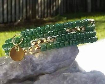 Green and Gold memory wire wrap with charms