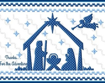 Nativity Baby Jesus in the Manger Faux Smocking Digital Embroidery Machine Design File 4x4  5x7 6x10