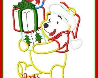 Winnie the Pooh Bear Santa Christmas Digital Embroidery Machine Applique Design File 5x7 6x10