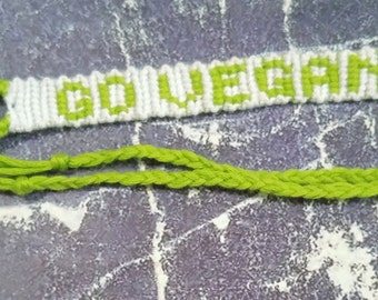 Green Go Vegan Woven Bracelet Vegan Friendly