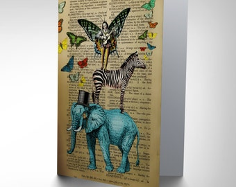 Greetings Card Birthday Gift Upcycle Elephant Lute Fairy Zebra Butterfly CP2910
