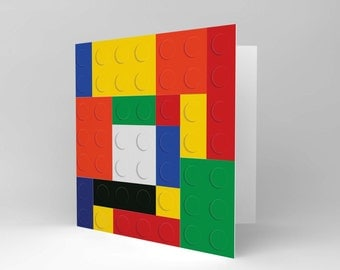 Lego Card - Greetings Card Fun Kids Birthday Blank Blocks Blank Card CS077