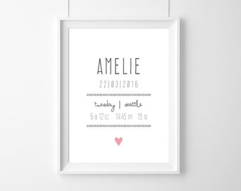 Birth Announcement Art Print,birth-certificate,sign baby,custom Baby Birth,new baby gift,Baby birthday poster,baby gift born,