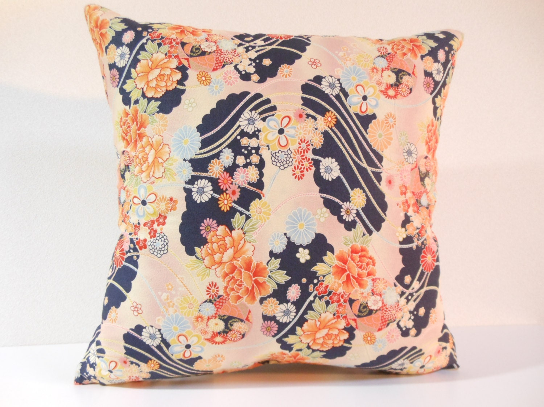 Japanese fabric pillow 014 decorative pillow 16x16 - Fabric for throw pillows ...