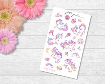 Cute pastel unicorn and sweets planner stickers