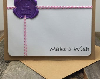 Birthday Card, Happy Birthday Card, Make a Wish Card, Birthday Cake Card, Pink and Purple Birthday Card, Make a Wish, Happy Birthday