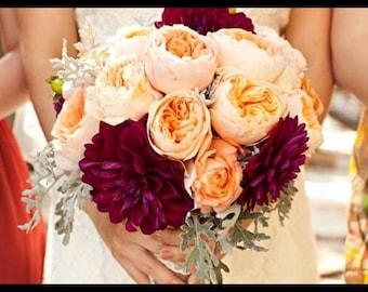 Peony and chrysanthemum wedding/bridal bouquet