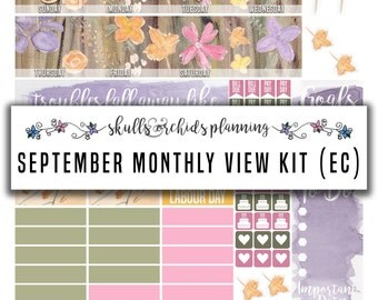50% OFF! ERIN CONDREN September 2016 Monthly View Kit – Printable Planner Stickers