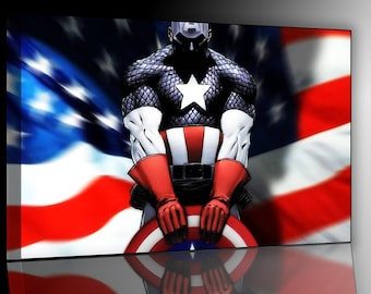 Captain America bandiera2 cm 50 x 70 print on canvas already framed and ready to hang
