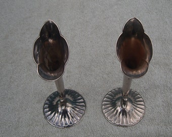 Stem Vases - Silver Plated - Distressed/Worn/Shabby Chic - Vintage Silverplate
