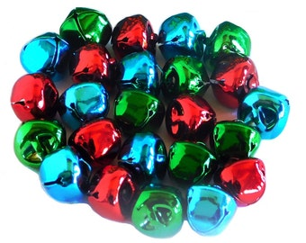 Jingle Bells, Assorted Colours, 15mm RED,GREEN & BLUE 24 pieces