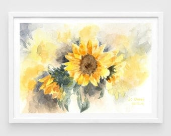 "Original watercolor,sunflowers,original painting,7""8x11""8,aquarelle originale,garden,home decor"