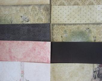 10 x Santoro Gorjuss 6x6 Papers Vintage Black & Cream