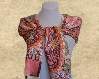 Paisley satin scarf, Boho shawl scarf, Bohemian scarf, Ladies scarf shawl, Scarf paisley  print, Scarf wrap lady, Pastel color scarf