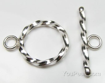 Round spiral toggle clasp, sterling silver toggle clasps, ring and bar clasps, necklace clasps, jewelry clasps, silver accessories, CS3500