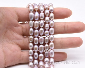 6-7mm rice pearl, natural lavender color freshwater pearl, genuine loose fine pearl beads, purple teardrop pearl strand wholesale, FM450-LS